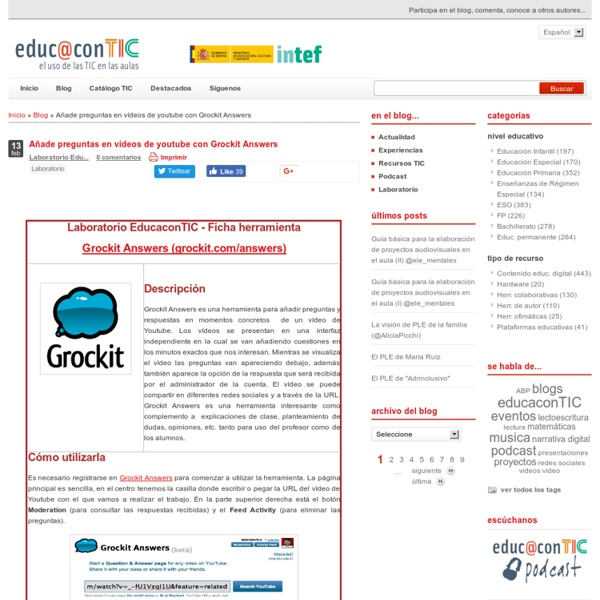 Añade preguntas en vídeos de youtube con Grockit Answers