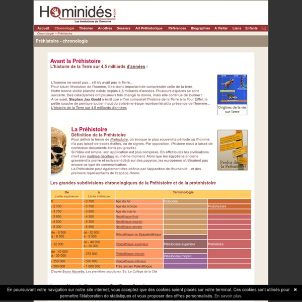 Hominidés - Préhistoire, Protohistoire, Chronologie