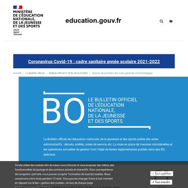 Classes de première Programme 2020-2021
