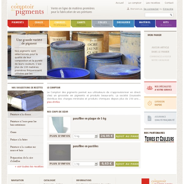 Le comptoir des pigments - Vente en ligne de matières premières pour la fabrication de vos Peintures