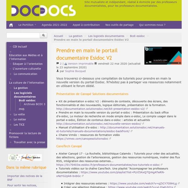 Prendre en main le portail documentaire Esidoc V2