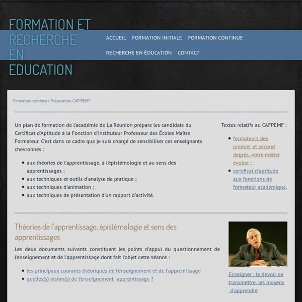 Préparation CAFIPEMF - David Megret - Formation et recherche en éducation