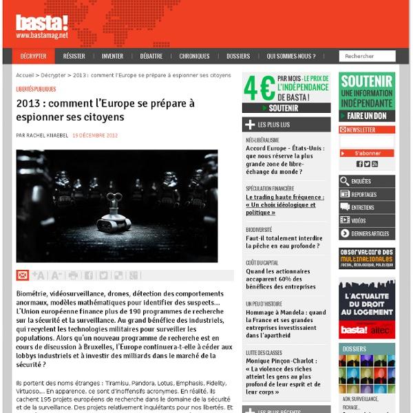 2013 : comment l'Europe se prépare à espionner ses citoyens - Libertés publiques