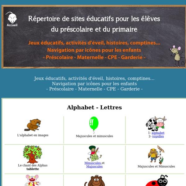 Sites éducatifs pour le préscolaire - Maternelle - Navigation par icônes