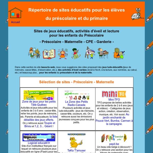 Sites éducatifs pour le préscolaire - Maternelle - CPE - Garderie