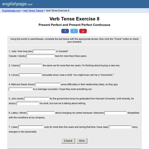 Verb Tense Exercise 8