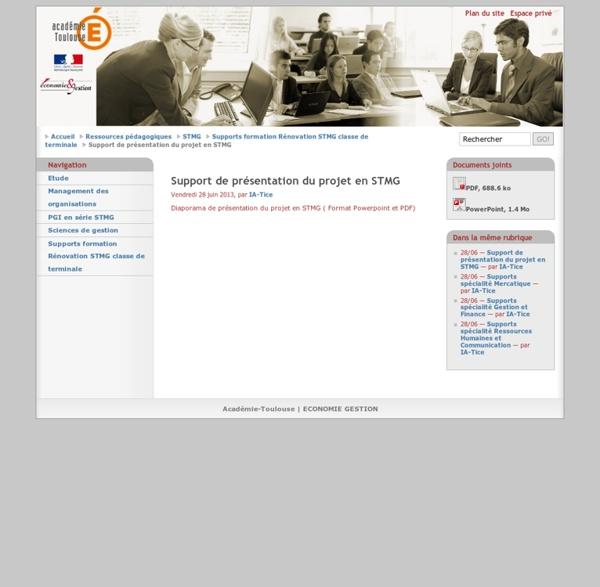 Support de présentation du projet en STMG - Académie-Toulouse