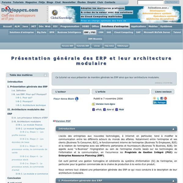 Présentation générale des ERP et leur architecture modulaire