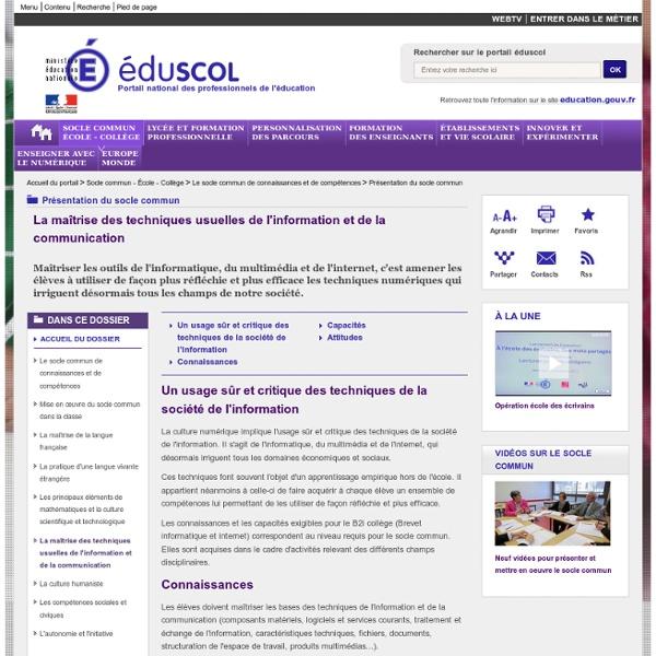 Maîtrise des techniques de l'information et de la communication - La maîtrise des techniques usuelles de l'information et de la communication