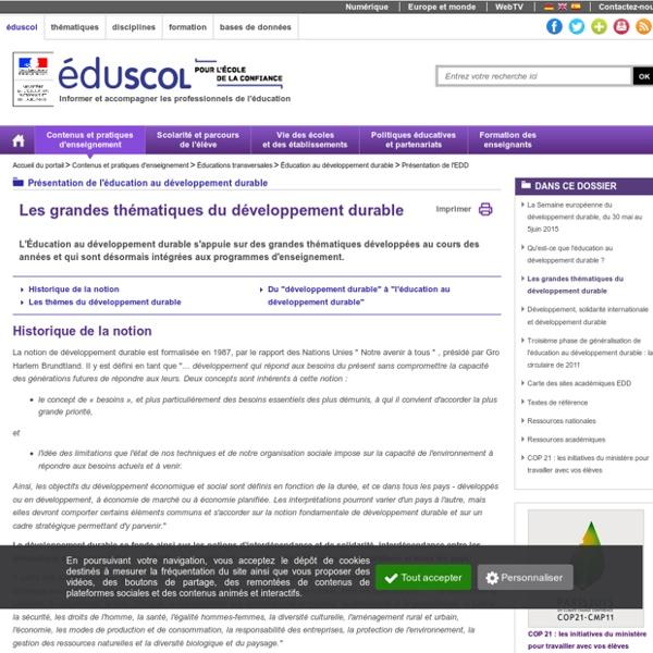 Présentation de l'EDD - Les grandes thématiques du développement durable