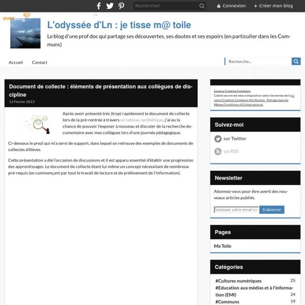 Document de collecte : éléments de présentation aux collègues de discipline