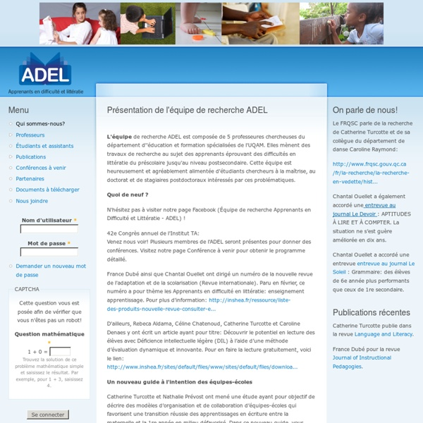 Présentation de l'équipe de recherche ADEL
