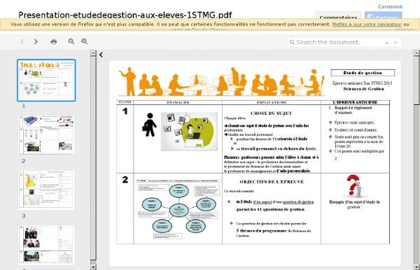 Présentation de l'étude de gestion aux élèves
