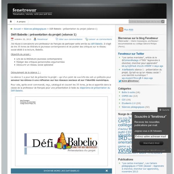 Défi Babelio : présentation du projet (séance 1