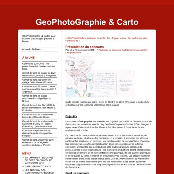 Présentation du concours - GeoPhotoGraphie & Carto