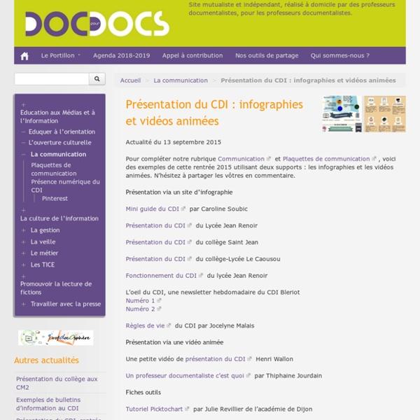 Présentation du CDI : infographies et vidéos animées