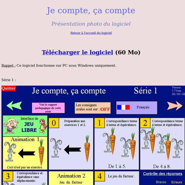 "Présentation logiciel ""Je compte, ça compte"" calcul maternelle"