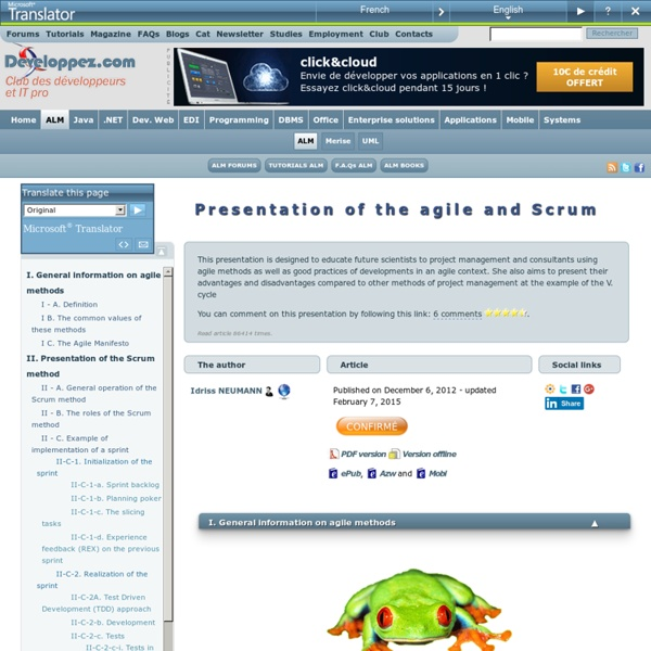 Présentation des méthodes agiles et Scrum