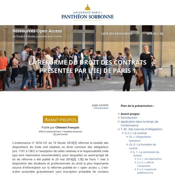 Avant-propos - Présentation de la réforme du droit des contrats - Droits fondamentaux et droit de la famille