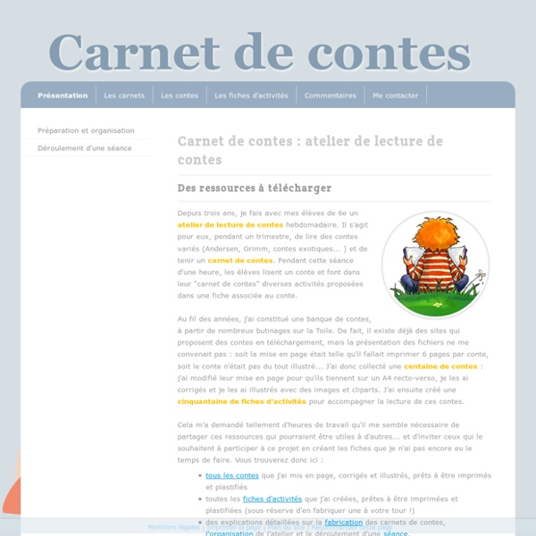 Présentation et mises à jour - Carnet de contes : ressources à télécharger pour créer un atelier de lecture de contes