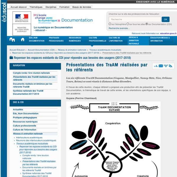 Présentations des TraAM réalisées par les référents — Documentation (CDI)
