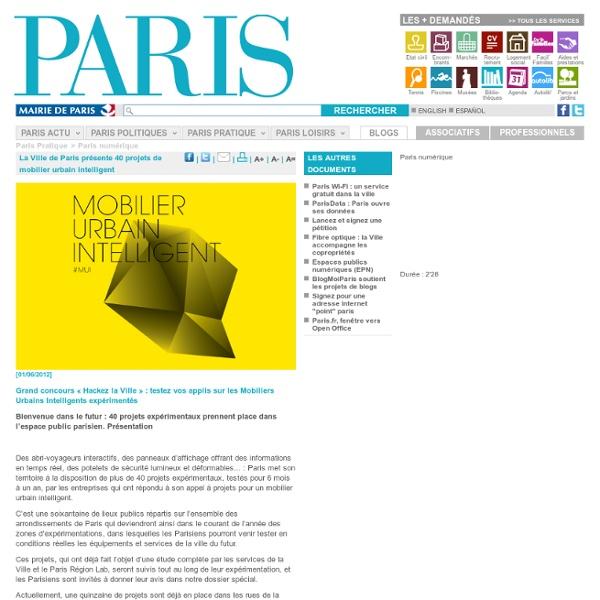 40 mobiliers urbain intelligent Paris