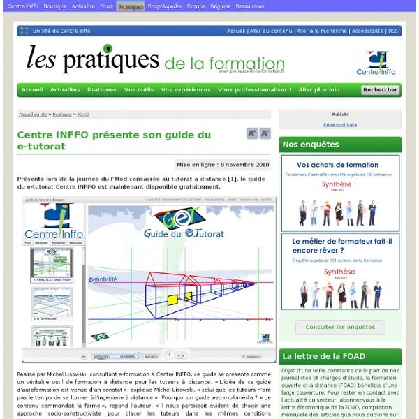 Centre INFFO présente son guide du e-tutorat