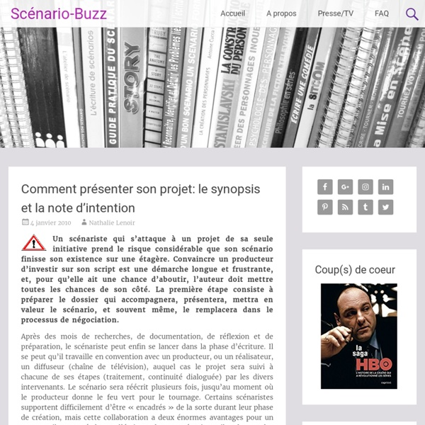 comment pr u00e9senter son projet  le synopsis et la note d u2019intention