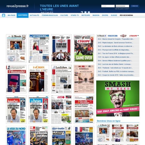 Presse Quotidien, toutes les Unes de la presse quotidienne