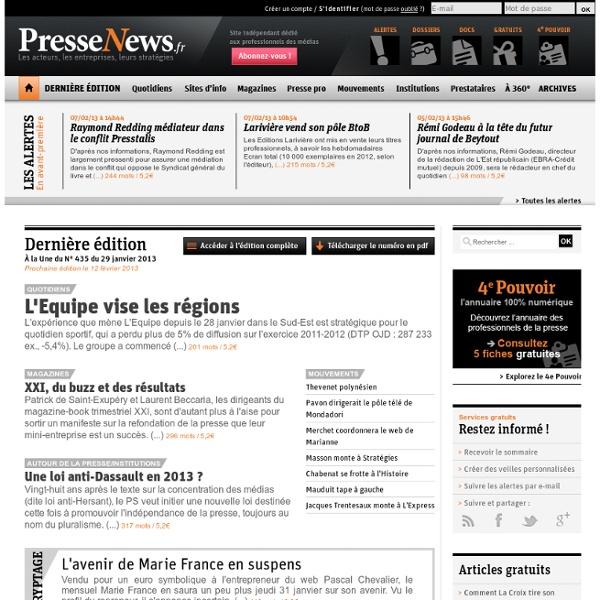 PresseNews : la presse, ses acteurs, ses entreprises et leurs stratégies
