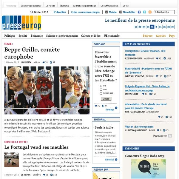 Actualités Europe, cartoons et revues de presse