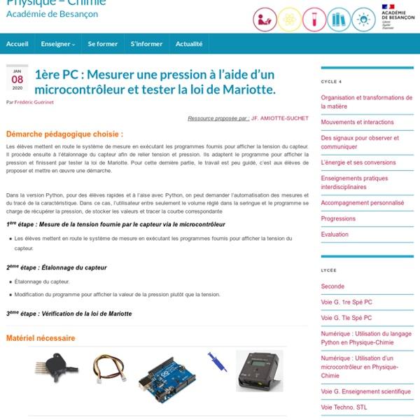 1ère PC : Mesurer une pression à l'aide d'un microcontrôleur et tester la loi de Mariotte.