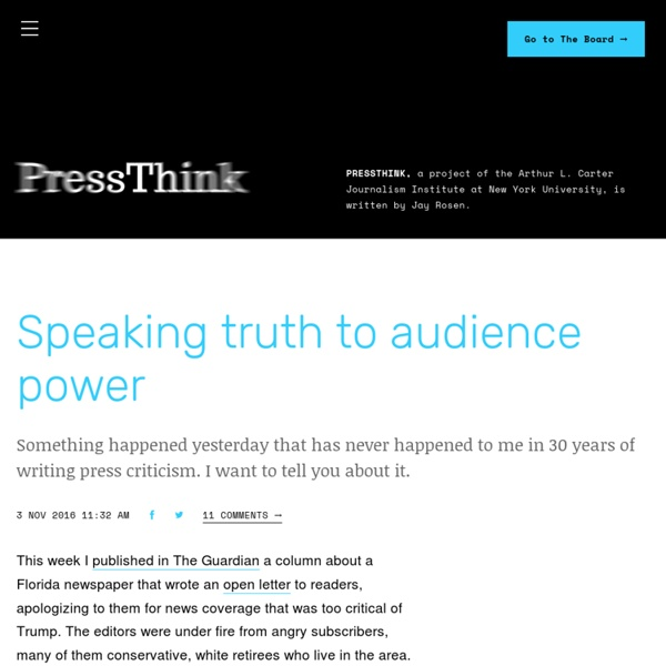 PressThink - PressThink, a project of the Arthur L. Carter Journalism Institute at New York University, is written by Jay Rosen.