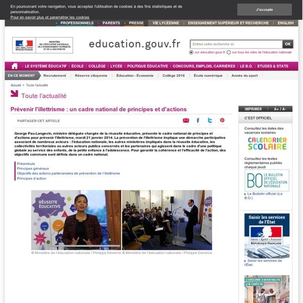 Prévenir l'illettrisme : un cadre national de principes et d'actions - Ministère de l'Éducation nationale, de l'Enseignement supérieur et de la Recherche
