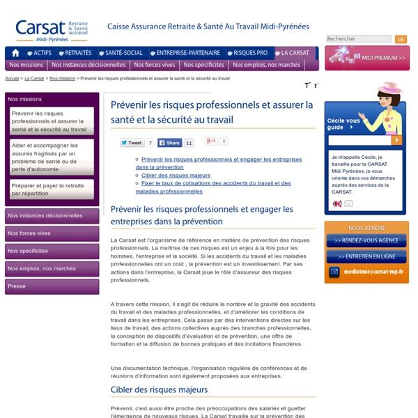 Prévenir les risques professionnels et assurer la santé et la sécurité au travail - Carsat