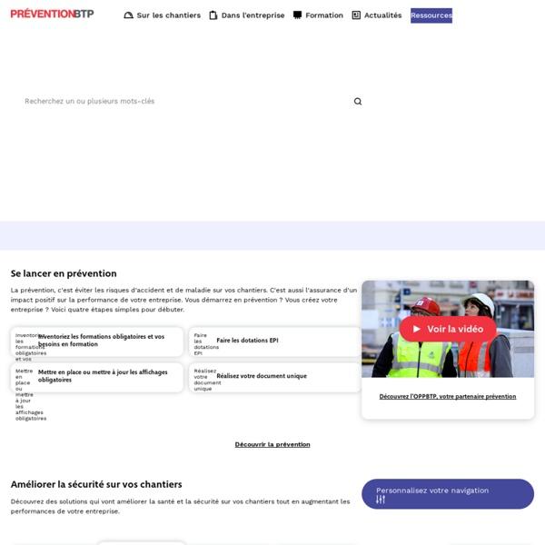 Prévention BTP, batiment et travaux publics - OPPBTP