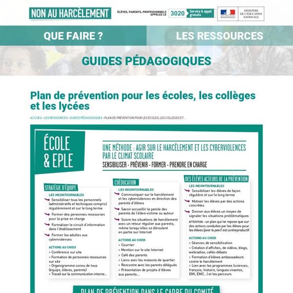 Plan de prévention pour les écoles, les collèges et les lycées