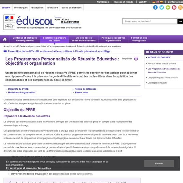 Prévention de la difficulté scolaire et aide aux élèves - Les Programmes Personnalisés de Réussite Educative