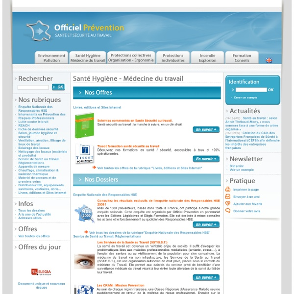 Santé au travail. Officiel Prévention, site dédié aux professionnels en