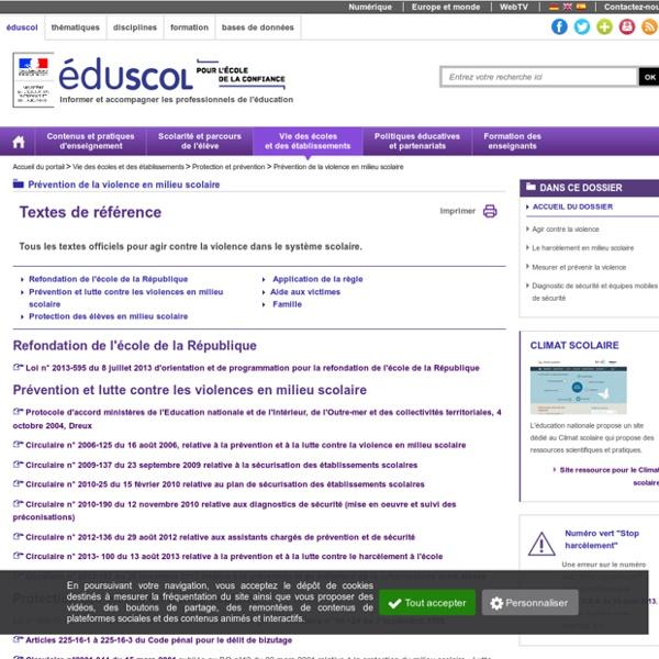 Prévention de la violence en milieu scolaire - Textes de référence