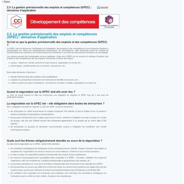 2.3- La gestion prévisionnelle des emplois et compétences (GPEC) : domaines d'application