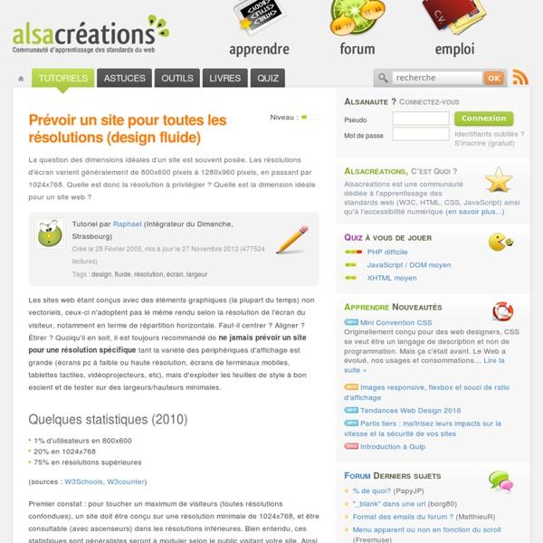 Prévoir un site pour toutes les résolutions (design fluide)