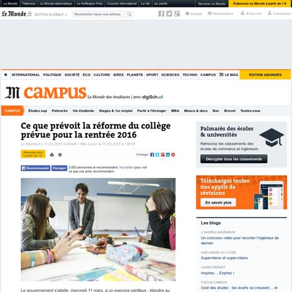 Ce que prévoit la réforme du collège prévue pourlarentrée 2016