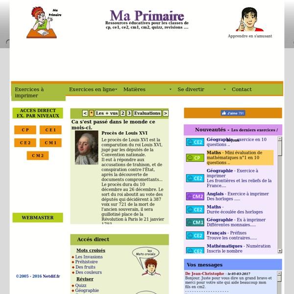 Ma primaire, soutien scolaire gratuit, educatif cp ce1 ce2 cm1 cm2