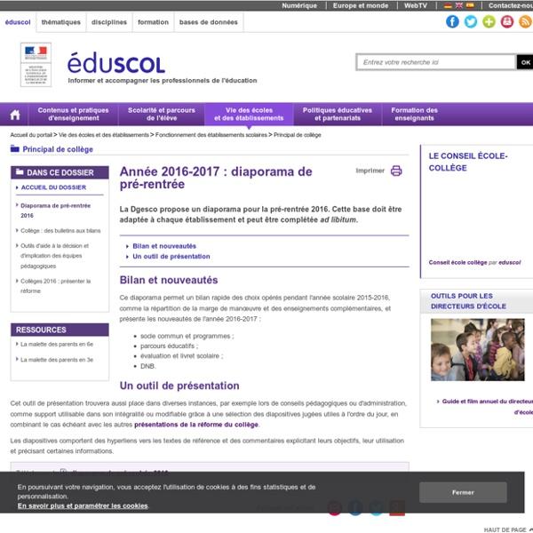 Principal de collège - Diaporama de pré-rentrée 2016