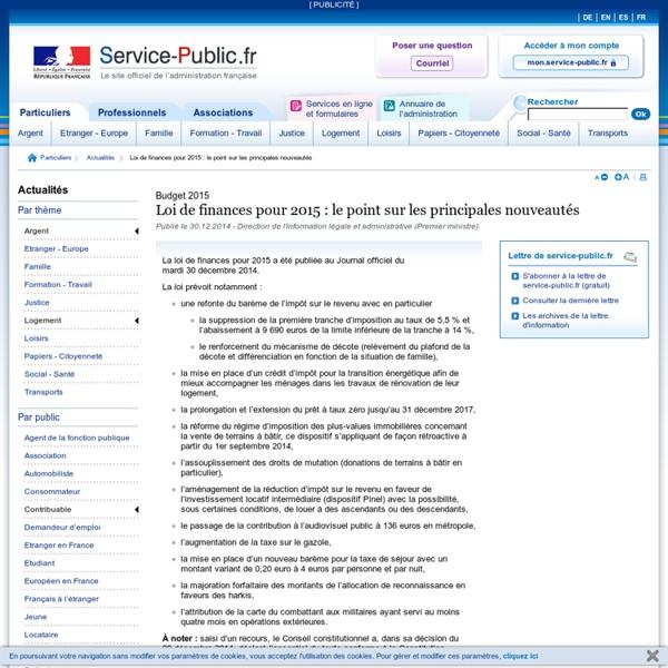 Loi de finances 2015: les principales nouveautés