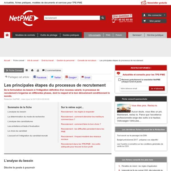 Les principales étapes du processus de recrutement - NetPME