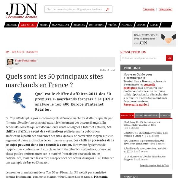 Quels sont les 50 principaux sites marchands en France ?