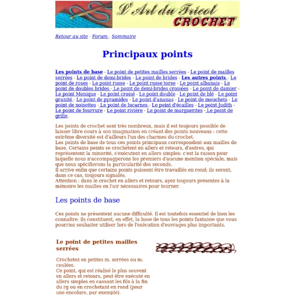 Principaux points de crochet
