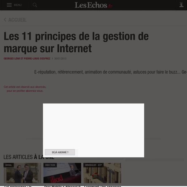 Les 11 principes de la gestion de marque sur Internet - Lewi, Desprez (éditions Vuibert) - Les Echos Business